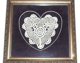 Professionally Framed & Double Matted Crocheted Heart Doily