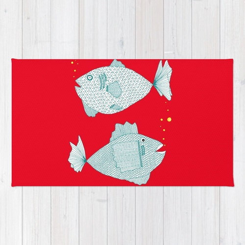 Red fish rug red rug fish bath mat red bath by for Fish bath rug