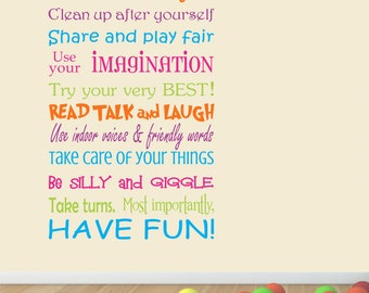 Playroom Rules - Playroom Rules Wall Decal - Classroom Rules - Kids Playroom decal - Kids decal