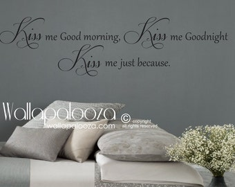 Kiss me Goodnight wall decal - always kiss me goodnight - love wall decal - master bedroom wall decal