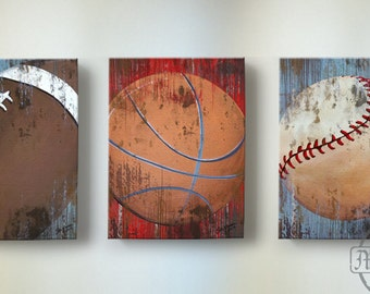 Vintage Sports Wall Art, Basketball Baseball and Football Canvas Wall Art  ,Boysu0027 Room or Nursery Decor