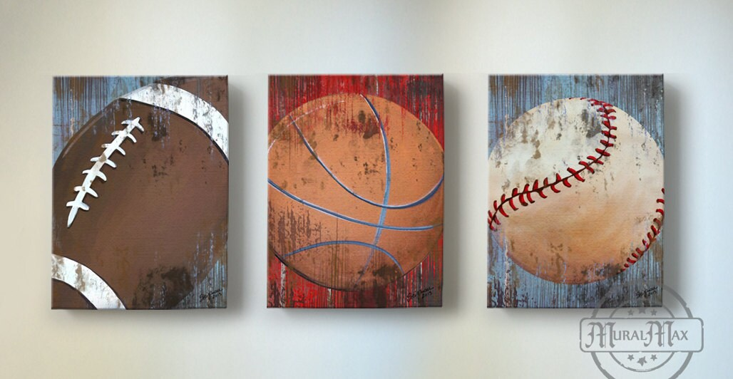 Wall Decorations Sports : Vintage sports wall art basketball baseball and football