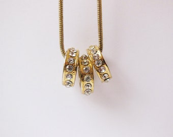 Vintage Necklace with 3 ring Rhinestone loops