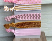 No snag hair ties - Pink metallic