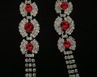 Vintage Red Rhinestone Drop Earrings