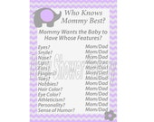 Purple and Grey Chevron Baby Shower Game, Purple Elephant Baby Shower Game, Purple Elephant Theme Baby Shower, Printable Who Knows Mommy