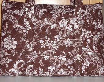 Brown And White Toile Print Quilted Purse
