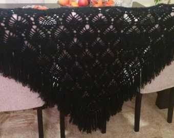 Black triangle scarf shawl - mohair and acrylic unique handmade crochet