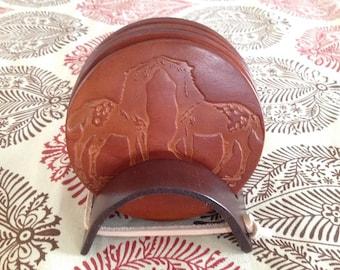 Kissing Horses Design Light Brown Coaster Set
