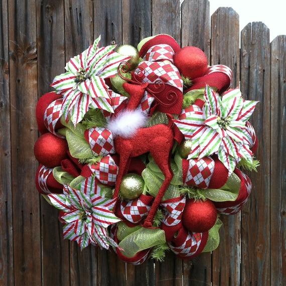 Deco Mesh Christmas Wreath Reindeer Jeweled By Goblinsandholly