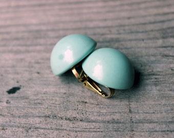 Vintage Pale Blue Clip on Earrings