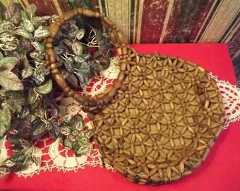 70s Style Boho Wooden Beaded Handbag, Made in Korea, Vintage Novelty Bag