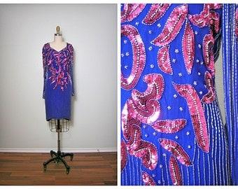 VTG Art Deco Sequin Dress // Pink and Purple Dress // Sheer Long Sleeved Beaded Fuchsia Dress