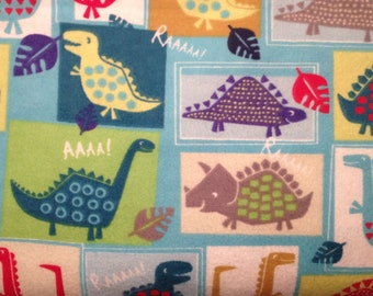 FLANNEL - Colorful Dinosaurs in Squares - Dinosaur Fabric