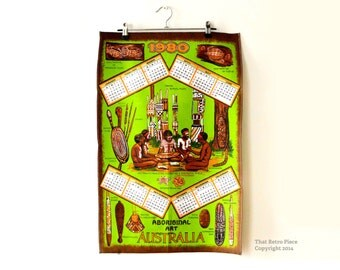 "Vintage cotton tea towel / Australian ""Aboriginal Art"" / 1980 calendar"