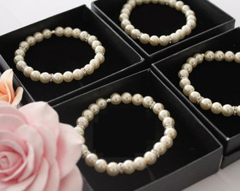 50% OFF SALE 4 Bridesmaids gifts-Pearl Jewelry sets with Bracelets