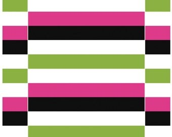 Tablecloth white pink green black stripes Scandinavian Modern decor , table runner , napkins , pillow , curtain available, great GIFT