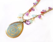 Brass Patina Flower Teardrop Colorful Beaded Charm Gold Necklace / Gift for Her