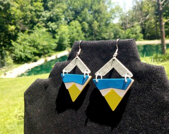 Colored Metal Neon Triangular Earrings: The Mellie