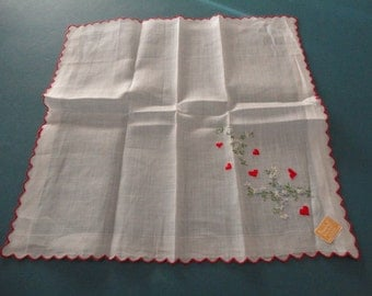 Vintage White Cotton Hankie/Handkerchief/Hanky with Embroidered Red Hearts & Flowers - Bridal/Wedding/Valentine Keepsake - Unused with Tags
