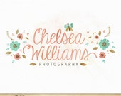 Hand Drawn Logo Watercolor Flowers Butterfly Typography Design for Photography & Boutique