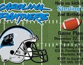 Carolina Panthers Football Invitation OR Thank you card