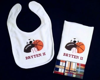 Boys Sporty Personalized Bib and Burp Cloth Set