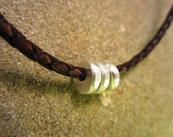 YOLLA Hammered Sterling Silver Beads - Sterling Silver and Braided Bolo Leather Necklace