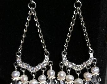 Handmade Swarovski Crystal and Pearl Chandelier Earrings
