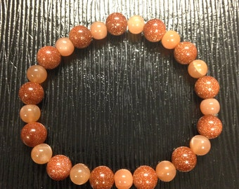 Goldstone & Peach Moonstone Stretch Bracelet