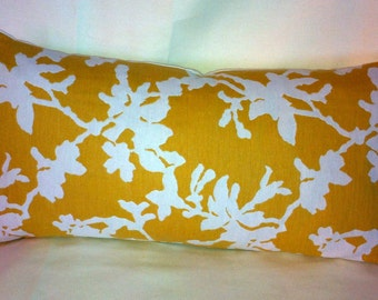 Single Designer Fabric Gold/Off-White Accent Kidney Pillow Cover with a Coral Design. 22 x 11 Inch.Free Shipping.