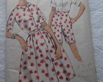 Misses' Size 14 and a Half 1950s Fitted Blouse, Skirt and Shorts Advance 2953 All 12 Pattern Pieces