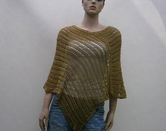 Solange - beautiful, dark khaki-colored universal handmade poncho