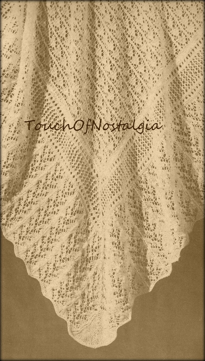 Knitting Pattern For Round Baby Shawl : LACY Baby SHAWL Vintage Knitting Pattern by touchofnostalgia7