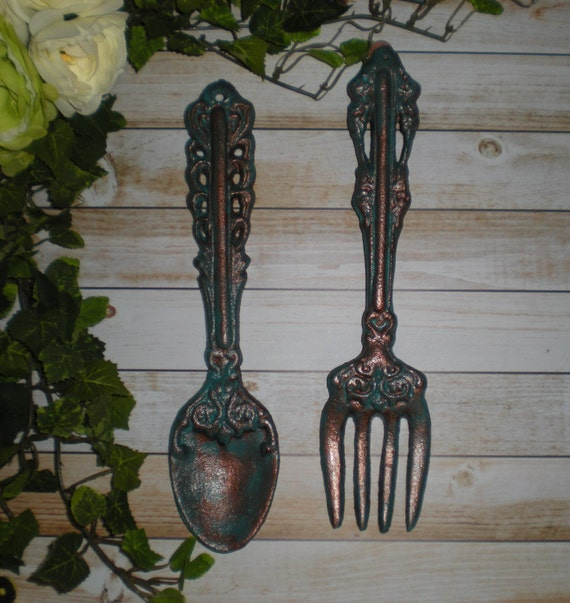 Http Www Etsy Com Listing 166252458 Patina Decor Fork And Spoon Set Kitchen