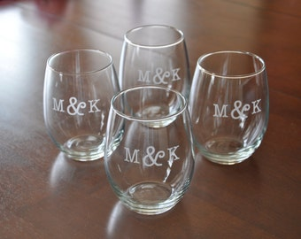 Personalized Etched Stemless Wine Glasses Set of 4