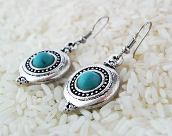 Simple Ethnic Turquoise Earrings