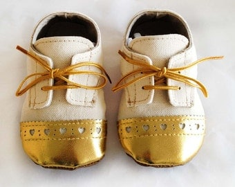 """Baby Toddler Shoes """"Natural"""" Canvas with Gold Brogued Leather Soft Sole Shoes Oxford Wingtips Wing tips"""