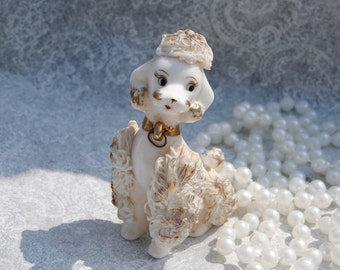 White Spaghetti Poodle with gold trim, with sticker.National Potters Made in Japan