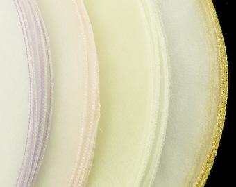 "9"" White Organza Tulle Circle Wrap w/ Glitter Edges - Choose Your Edge Color & Quantity!"