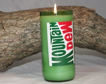 Upcycled Soda Bottle Candle, Upcycled Moutain Dew Bottle, Highly Scented in Mountain Dew Fragrance in Mt Dew Bottle