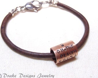 oh the places you'll go Bracelet inspirational gift for graduate