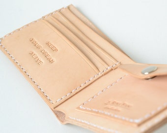 Personalized wallet, unisex leather bifold wallet, handstitched