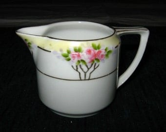 Small Nippon Hand-Painted Creamer, Pink Roses, Yellow Band, Rising Sun Blue Mark