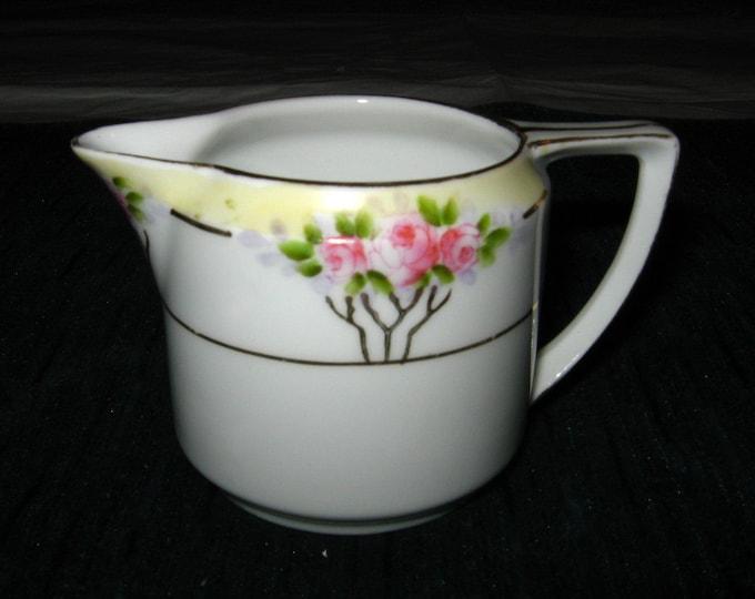 Small Nippon Hand-Painted Creamer, Pink Roses, Yellow Band, Rising Sun Blue Mark