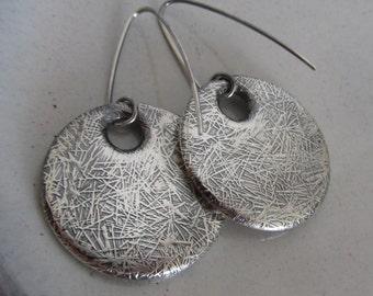 Silver Patterned Dangle Earrings - Double Disc Earrings -  Hammerdd Pattern Earrings