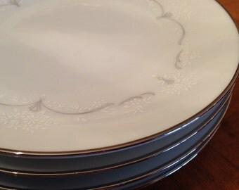 "Noritake ""Whitebrook"" Set of Four Dessert Bread Wedding Cake Plates"
