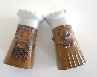 Vintage Chef Salt and Pepper shakers- Vintage Scandinavian 1970s Lisa Larsson style Japanese