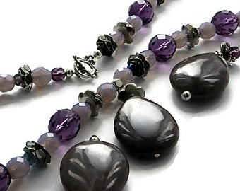 Purple and mauve Necklace with Jade Pendant with matching Earrings free