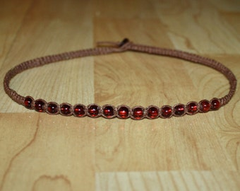 Auburn Red Beaded Choker Red Bead Necklace Brown Choker Brown Necklace Hemp Choker Necklace Mens Choker Mens Brown Necklace for Men Jewelry